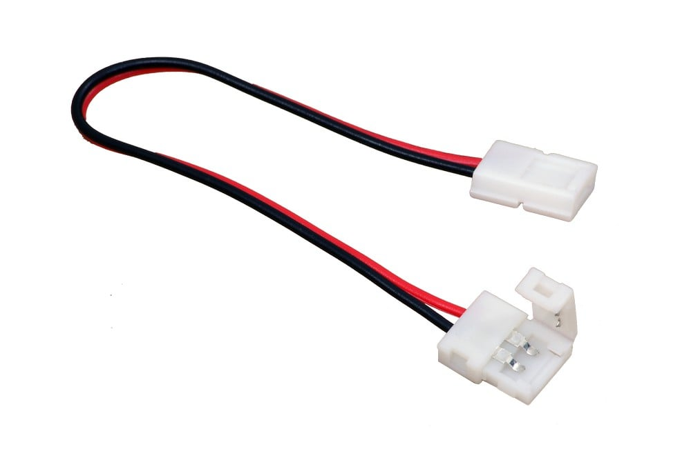 LED nauhaliitin, 10mm LED nauhalle,100cm johdolla, (sopii 12mm profiiliin)